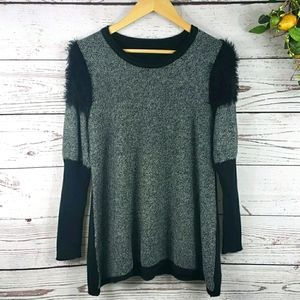 Knitted Long Sleeve Sweater Black and Gray
